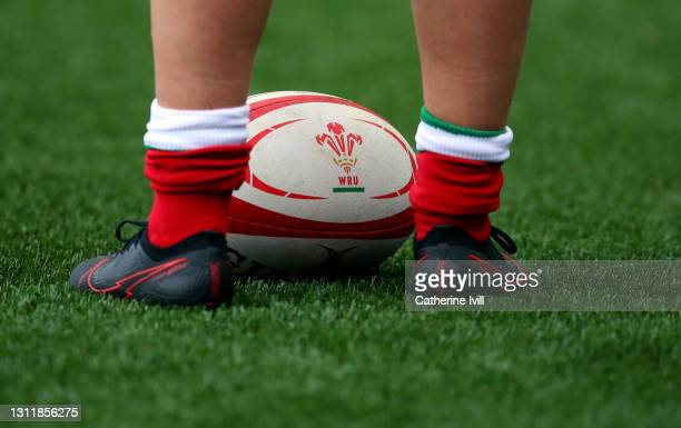 Detailed view of the Rugby ball bearing the WRU logo on ahead of the Women's Six Nations match between Wales and Ireland at Cardiff Arms Park on...