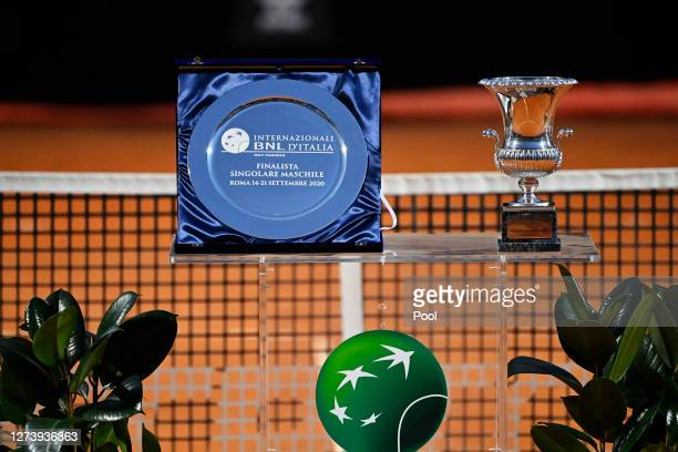 Detailed view of the runner-up and winner's trophy during the presentation ceremony following the men's final match between Novak Djokovic of Serbia...