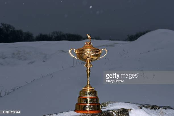 Detailed view of the Ryder Cup trophy at Whistling Straits Golf Course on February 20, 2019 in Sheboygan, Wisconsin.