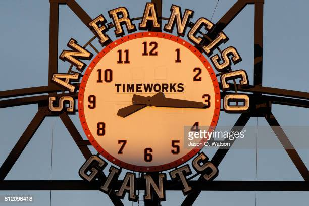 Detailed view of the San Francisco Giants clock hanging on the center field light tower during the fourth inning against the Miami Marlins at ATT...