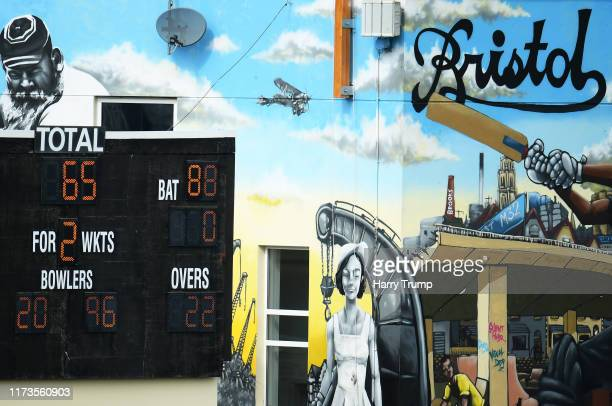 Detailed view of the scoreboard during Day One of the Specsavers County Championship Division Two match between Gloucestershire and Sussex at Bristol...