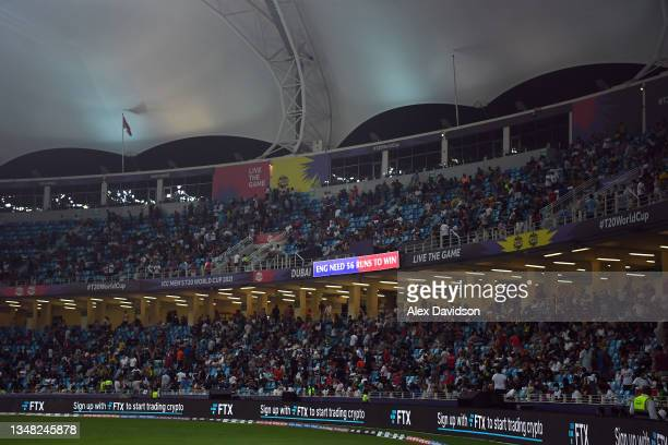 Detailed view of the scoreboard showing England need 56 to win during the ICC Men's T20 World Cup match between England and Windies at Dubai...