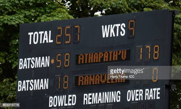 Detailed view of the scoreboard showing the 178 scored by Chamari Athapaththu of Sri Lanka during the ICC Women's World Cup 2017 match between Sri...