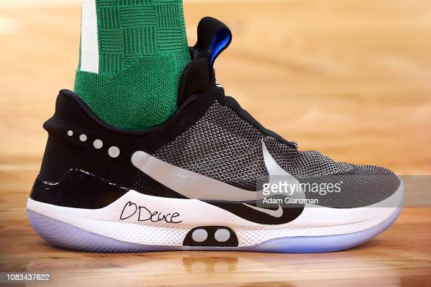 A detailed view of the selftying Nike shoes on Jayson Tatum of the Boston Celtics during a game against the Toronto Raptors at TD Garden on January...