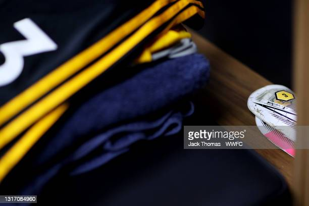 Detailed view of the shin pads of Rayan Ait-Nouri of Wolverhampton Wanderers ahead of the Premier League match between Wolverhampton Wanderers and...
