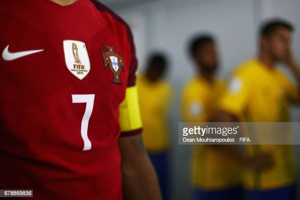 A detailed view of the shirt and badges worn by Madjer of Portugal in the players tunnel prior to the FIFA Beach Soccer World Cup Bahamas 2017...