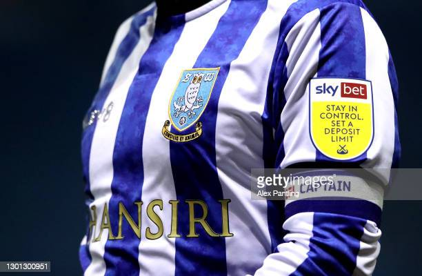 Detailed view of the shirt of Barry Bannan of Sheffield Wednesday during the Sky Bet Championship match between Sheffield Wednesday and Wycombe...