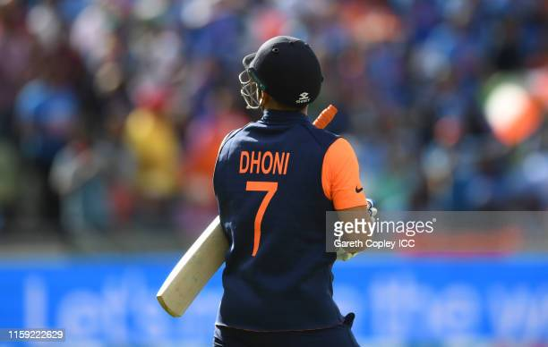 Detailed view of the shirt of MS Dhoni displaying OneDay4ChildrenICCWC2019 during the Group Stage match of the ICC Cricket World Cup 2019 between...