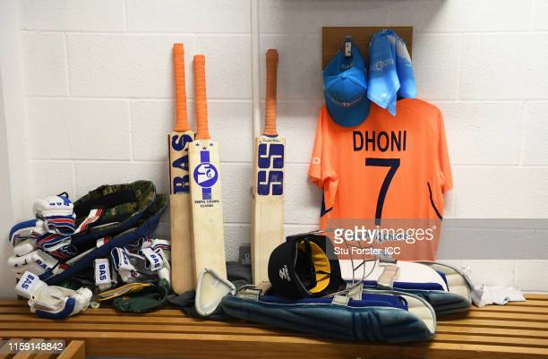 Detailed view of the shirt of MS Dhoni of India with a One Day Four Children Cap during the Group Stage match of the ICC Cricket World Cup 2019...