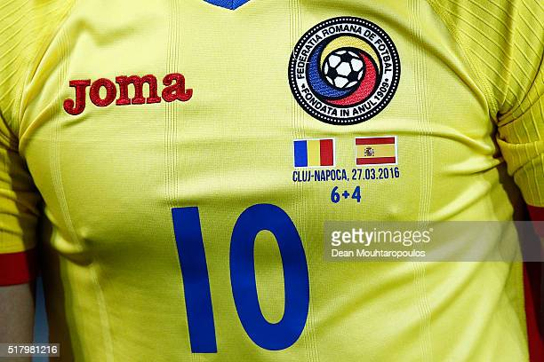 Detailed view of the shirt worn by Nicolae Stanciu of Romania displaying one of the many mathematical equations on every players shirt during the...