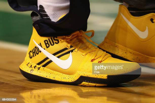 A detailed view of the shoe of Kyrie Irving of the Cleveland Cavaliers prior to Game One of the 2017 NBA Eastern Conference Finals between the...