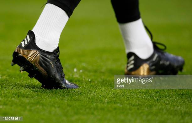 Detailed view of the shoes of David De Gea of Manchester United during his warm up prior to the Premier League match between Manchester United and...