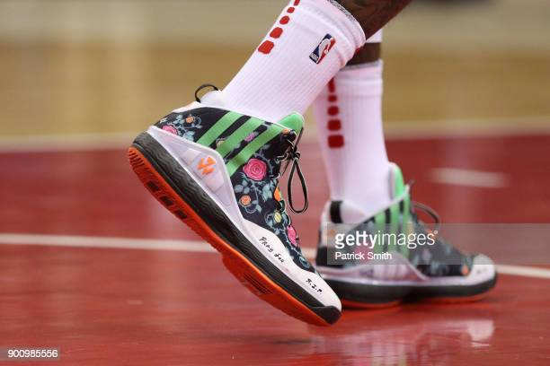 A detailed view of the shoes of John Wall of the Washington Wizards as they play the New York Knicks at Capital One Arena on January 3 2018 in...