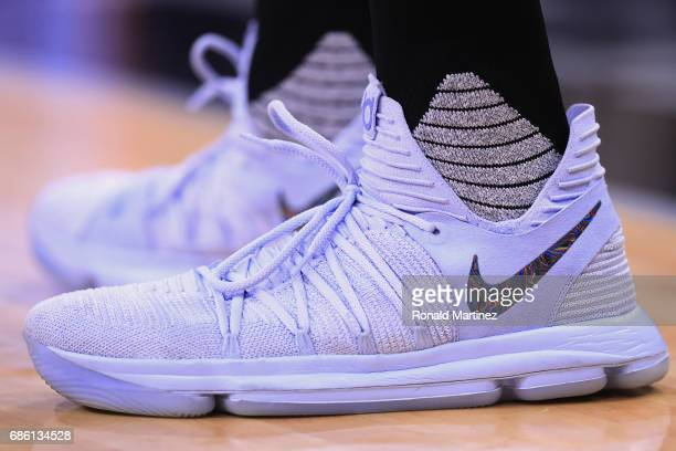 A detailed view of the shoes of Kevin Durant of the Golden State Warriors in the first half during Game Three of the 2017 NBA Western Conference...