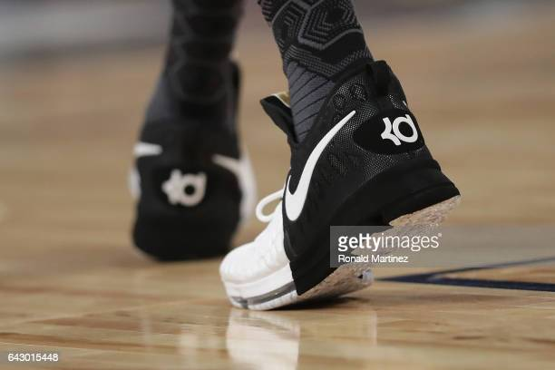 A detailed view of the shoes of Kevin Durant of the Golden State Warriors during the 2017 NBA AllStar Game at Smoothie King Center on February 19...