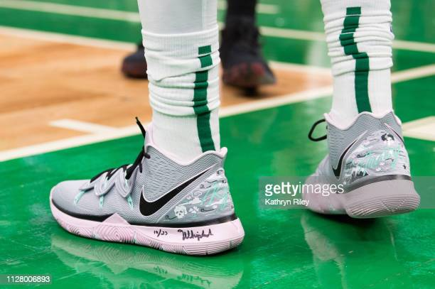 A detailed view of the shoes of Kyrie Irving of the Boston Celtics worn in game against the Portland Trail Blazers at TD Garden on February 27 2019...