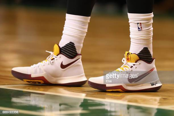 A detailed view of the shoes of Kyrie Irving of the Cleveland Cavaliers during Game Five of the 2017 NBA Eastern Conference Finals between the...