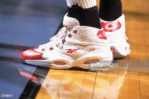 A detailed view of the shoes of LeBron James of the East AllStars shows his initials and number during the game against the West AllStars in the...