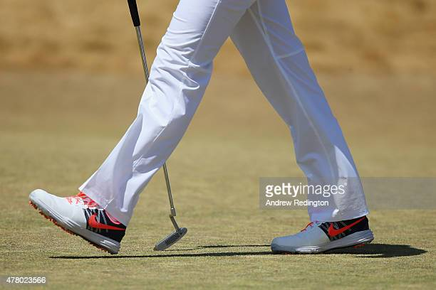 A detailed view of the shoes of Rory McIlroy of Northern Ireland on the sixth green during the final round of the 115th US Open Championship at...