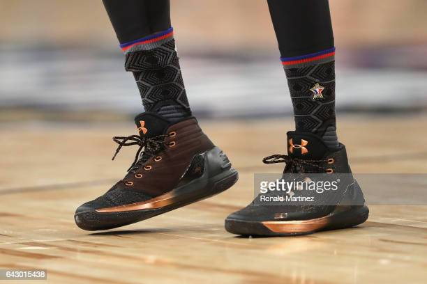 A detailed view of the shoes of Stephen Curry of the Golden State Warriors during the 2017 NBA AllStar Game at Smoothie King Center on February 19...