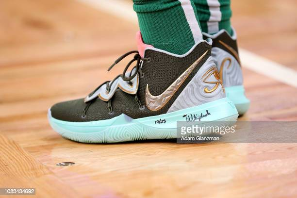 A detailed view of the shoes on Kyrie Irving of the Boston Celtics during a game against the Toronto Raptors at TD Garden on January 16 2019 in...