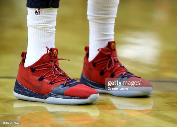 A detailed view of the shoes worn by Anthony Davis of the New Orleans Pelicans during their game against the Charlotte Hornets at Spectrum Center on...