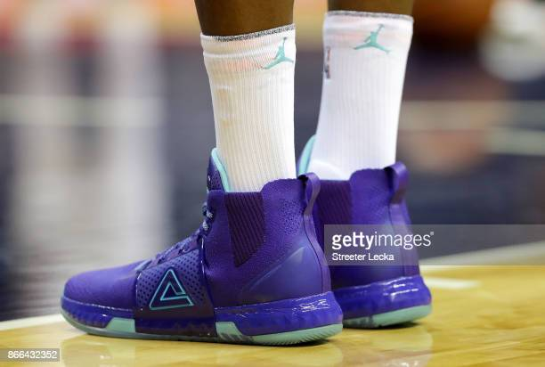 A detailed view of the shoes worn by Dwight Howard of the Charlotte Hornets during their game against the Denver Nuggets at Spectrum Center on...