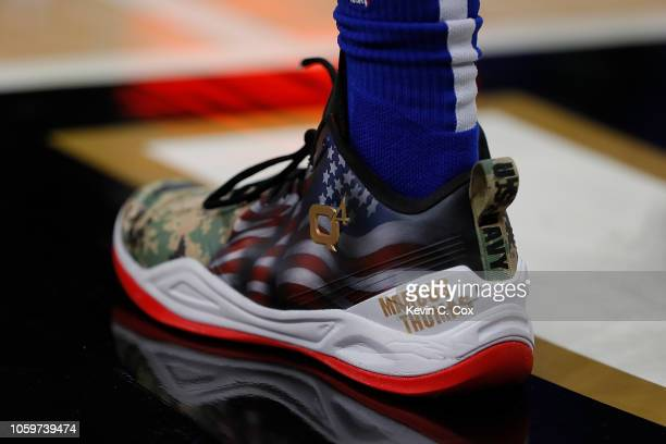 A detailed view of the shoes worn by Langston Galloway of the Detroit Pistons against the Atlanta Hawks at State Farm Arena on November 9 2018 in...