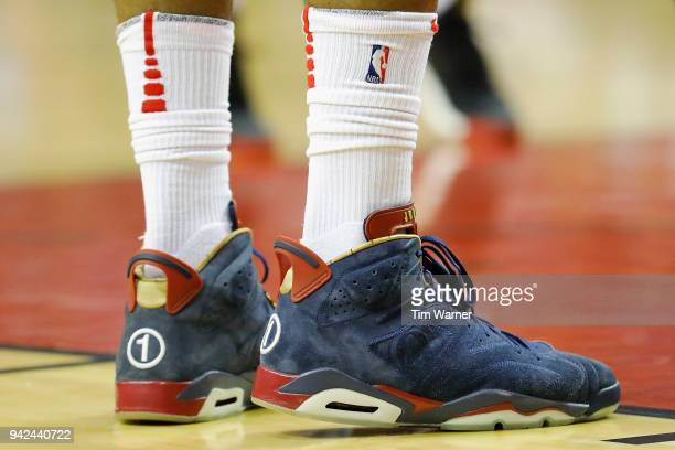 A detailed view of the shoes worn by PJ Tucker of the Houston Rockets during the game against the Washington Wizards at Toyota Center on April 3 2018...