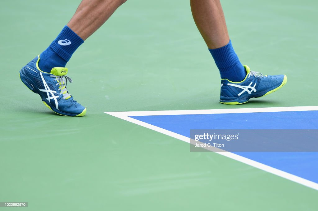 A detailed view of the shoes worn by Steve Johnson in his match against Tommy Paul on day two of the Winston-Salem Open at Wake Forest University on August 21, 2018 in Winston-Salem, North Carolina.
