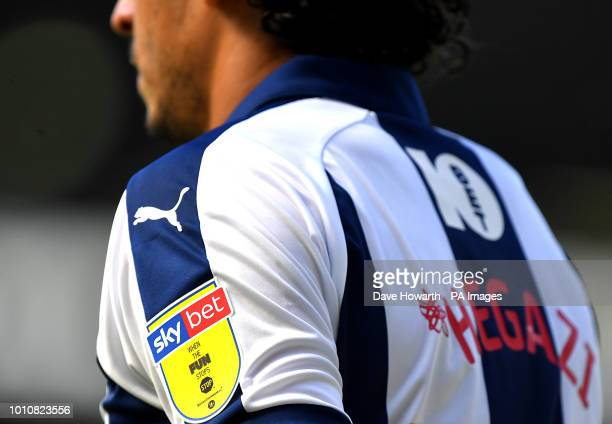A detailed view of the Sky bet logo on West Bromwich Albion's Ahmed Hegazi during the Sky Bet Championship match at The Hawthorns West Bromwich