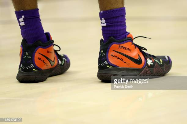 A detailed view of the sneakers of Javonte Smart of the LSU Tigers against the Michigan State Spartans during the first half in the East Regional...