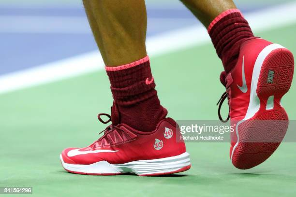 A detailed view of the sneakers of Rafael Nadal of Spain during his second round Men's Singles match against Taro Daniel of Japan on Day Four of the...