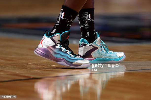 A detailed view of the sneakers of US Team's Victor Oladipo of the Orlando Magic runs on court against the World Team during the BBVA Compass Rising...