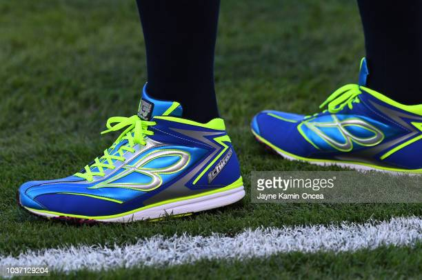 Detailed view of the sneakers worm by Ichiro Suzuki of the Seattle Mariners as he stretches with roster players before the game against the Los...
