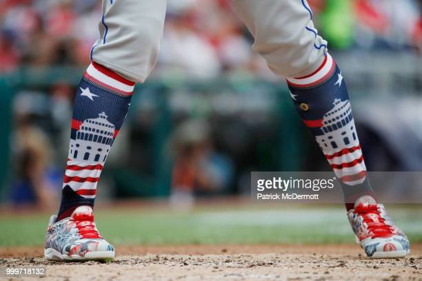 A detailed view of the socks of Fernando Tatis of the San Diego Padres and the World Team against the US Team during the SiriusXM AllStar Futures...