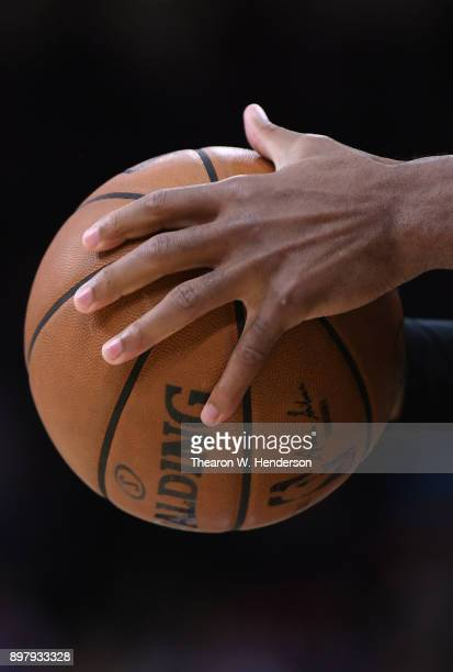 A detailed view of the Spalding basketball held onto by Buddy Hield of the Sacramento Kings against the Phoenix Suns during an NBA basketball game at...