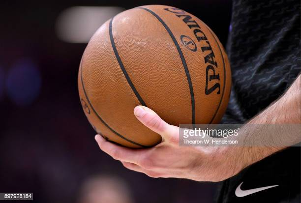 A detailed view of the Spalding basketball held onto by Kosta Koufos of the Sacramento Kings against the Phoenix Suns during an NBA basketball game...