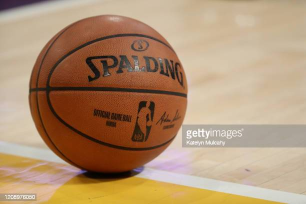 Detailed view of the Spalding basketball on the court during the first half in a game between the Los Angeles Lakers and the New Orleans Pelicans at...
