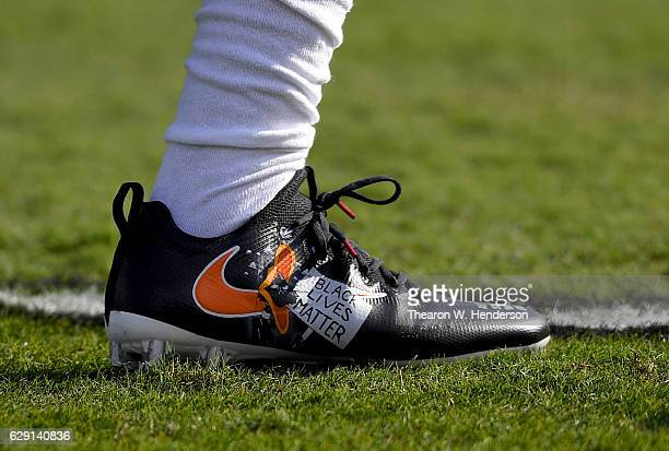 A detailed view of the special cleats with the words Black Lives Mater worn by Sergio Brown of the Buffalo Bills against the Oakland Raiders at the...