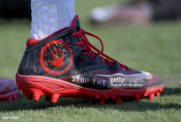 A detailed view of the special cleats worn by Adolphus Washington of the Buffalo Bills against the Oakland Raiders at the OaklandAlameda Coliseum on...