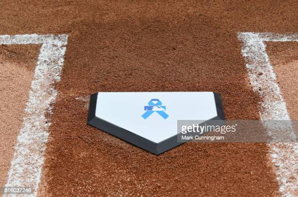 A detailed view of the special home plate with a blue ribbon logo used for pregame ceremonies for prostate cancer awareness prior to the game between...