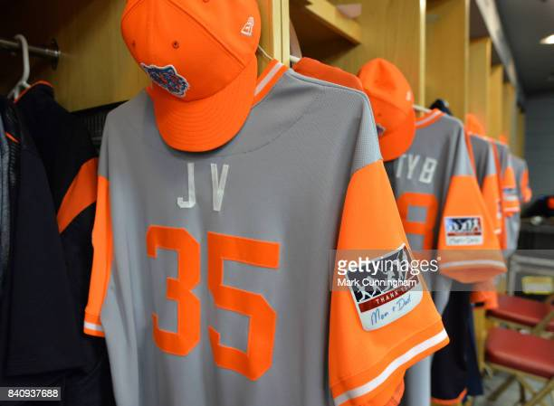A detailed view of the special jersey hat and sleeve patch to celebrate Players Weekend to be worn by Justin Verlander of the Detroit Tigers with his...