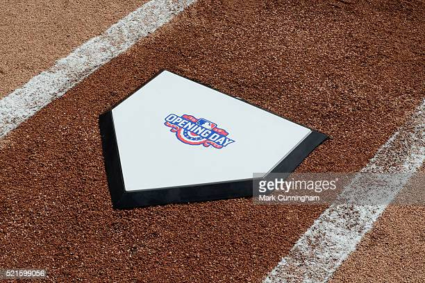 A detailed view of the special Opening Day home plate used during pregame ceremonies prior to the game between the Detroit Tigers and the New York...