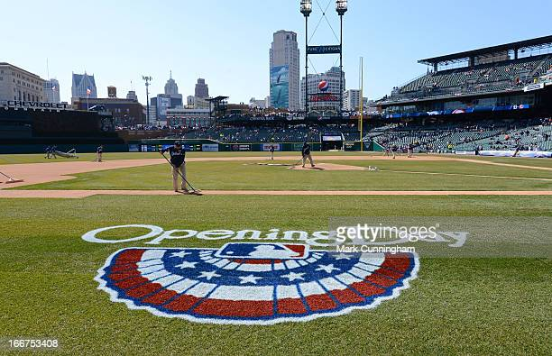 A detailed view of the special Opening Day logo painted on the field prior to the game between the Detroit Tigers and the New York Yankees at...