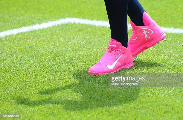 A detailed view of the special pink Nike baseball shoes worn by Ian Kinsler of the Detroit Tigers to honor Mother's Day during the game against the...