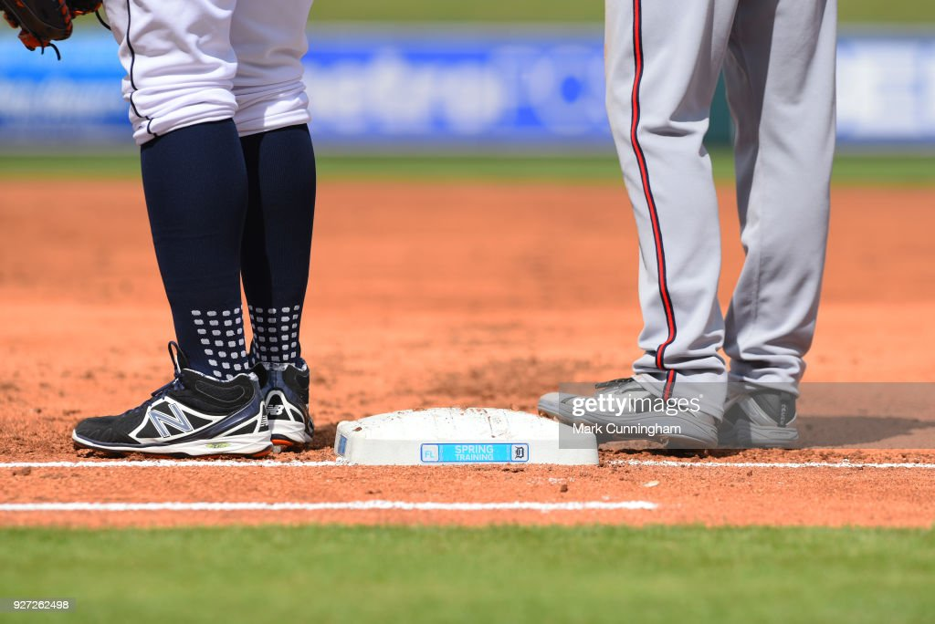 A detailed view of the special Spring Training base used during the game between the Detroit Tigers and the Atlanta Braves at Publix Field at Joker Marchant Stadium on March 1, 2018 in Lakeland, Florida. The Braves defeated the Tigers 5-2.