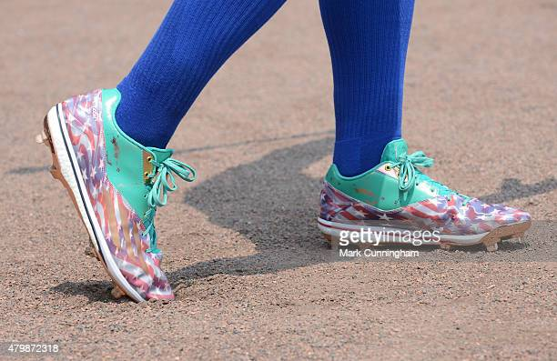 A detailed view of the special Stars and Stripes Adidas baseball shoes worn by Kevin Pillar of the Toronto Blue Jays to honor Independence Day during...