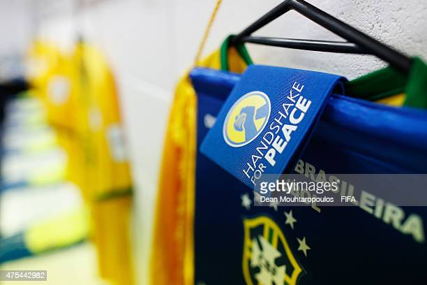 A detailed view of the spot for captain Danilo of Brazil in the changing room during the FIFA U20 World Cup New Zealand 2015 Group E match between...