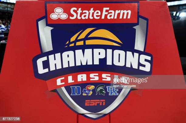 Detailed view of the State Farm Champions Classic logo is seen on a pad during the State Farm Classic Champions Classic game between the Duke Blue...